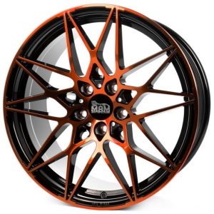 18x8.0 5x112 ET30 CB72,6 MAM B2 black front orange