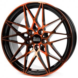 18x8.0 5x112 ET30 CB72,6 MAM B2 black front orange
